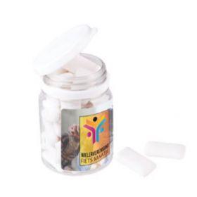 Tyggegummier i plastbøtter med logo 28 stk