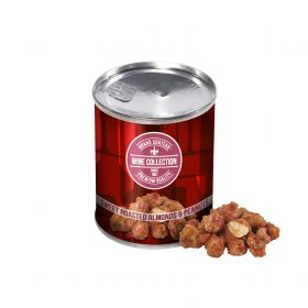 Ristede nødder i dåser med logo