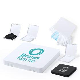 Plastik etui med logo til mundbind