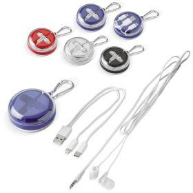 Høretelefoner og opladerkabler med logo