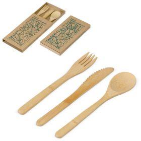Bestik sæt med logo 3 dele i æske Bambus